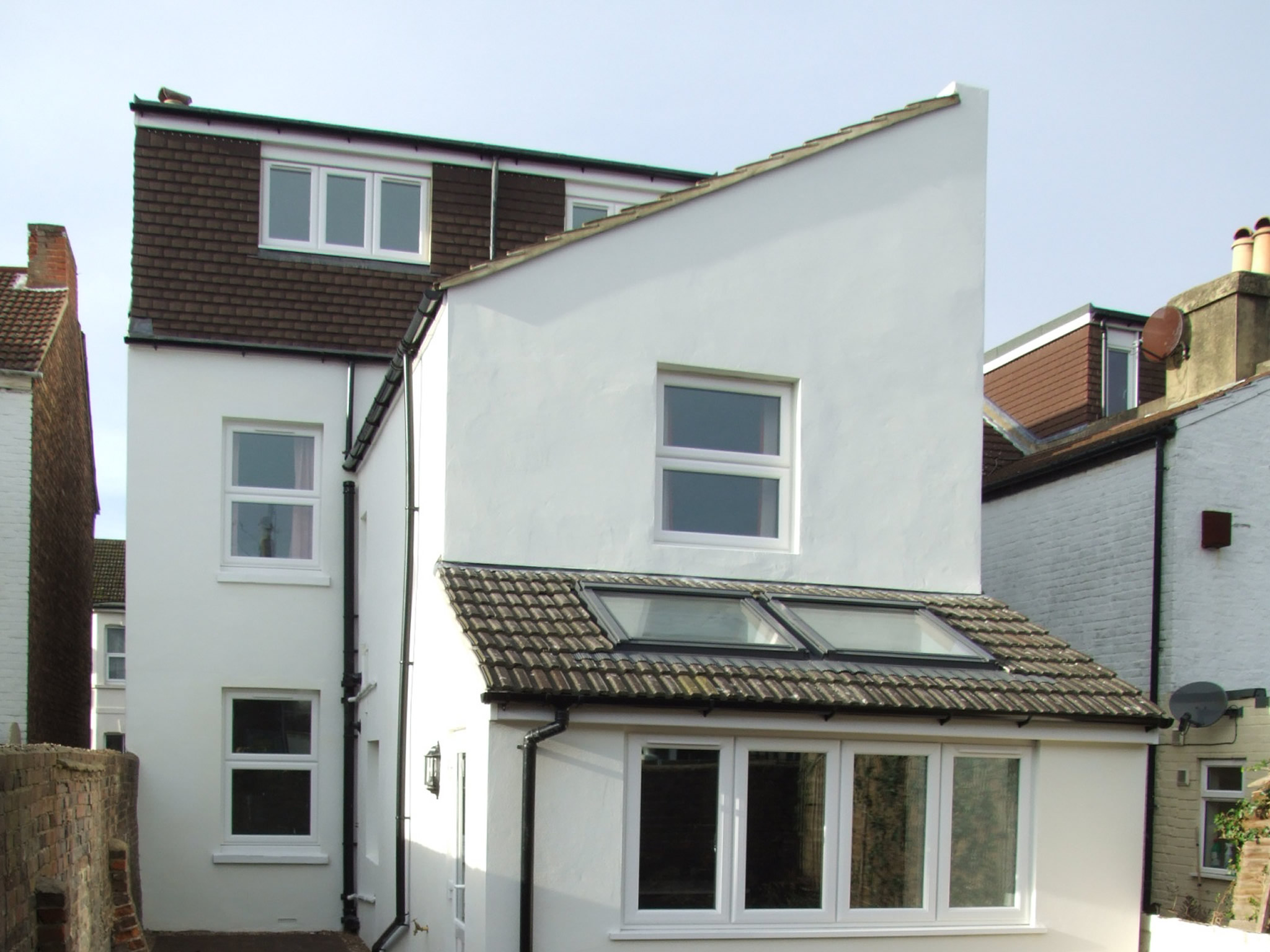 The rear of a newly renovated detached house